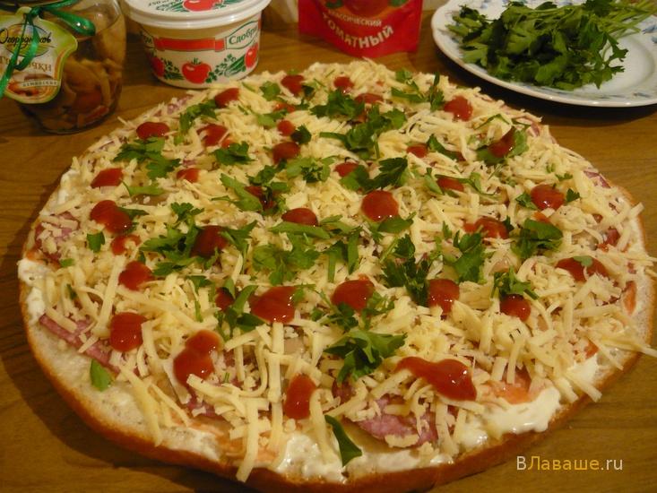 Рецепт пиццы из лаваша в микроволновке